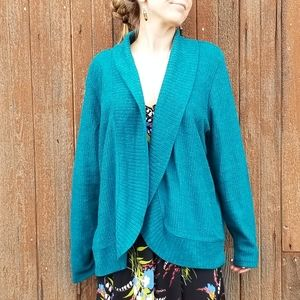 Forever 21+   teal wool blend open cardigan